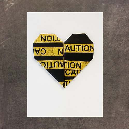 Origami greeting card, Caution Tape Heart