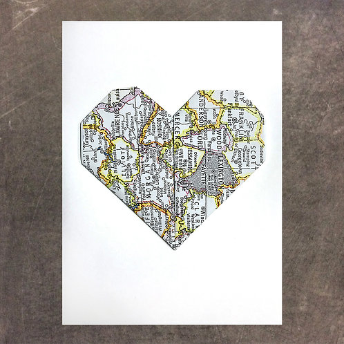 Origami greeting card, Lexington, Fayette County Heart