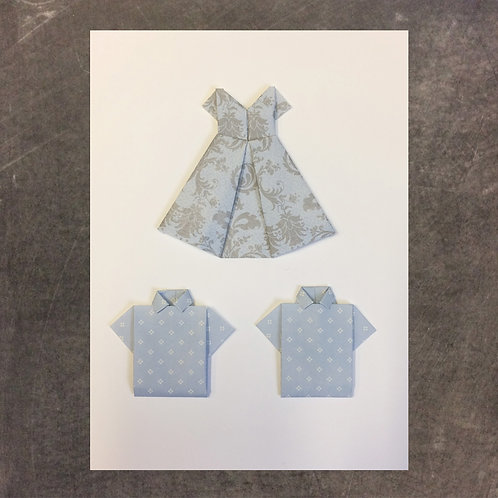 Origami greeting card, dress with 2 shirts