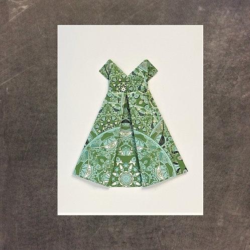 origami greeting card, green dress