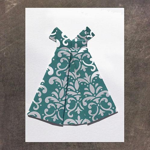 Origami greeting card, Teal Dress