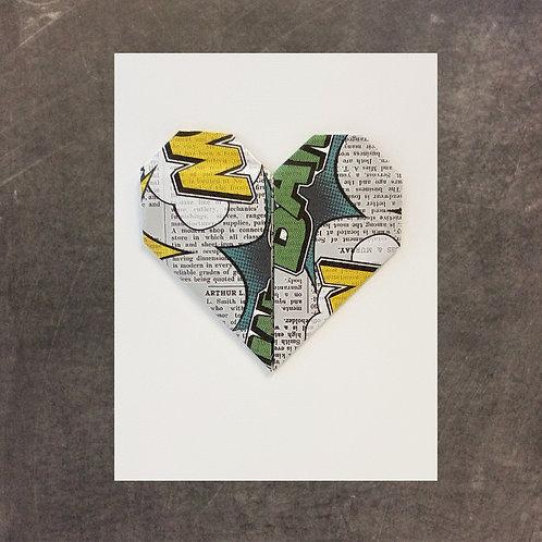 Origami greeting card, Comic Book Heart