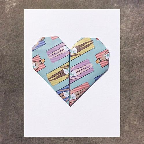 Origami greeting card, Sunbathers Heart