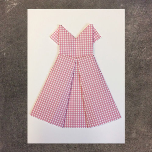 Origami greeting card, dress