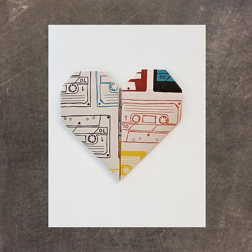 Origami greeting card, Mixed Tape Heart