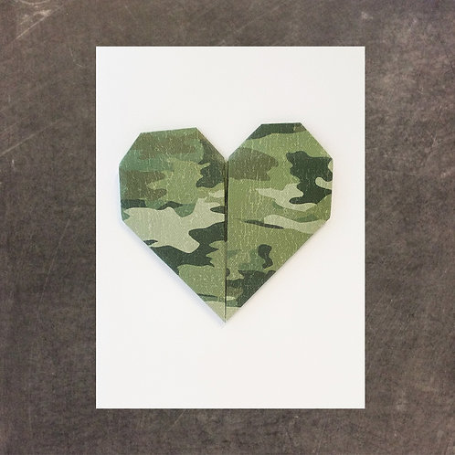 Origami greeting card, Camo Heart
