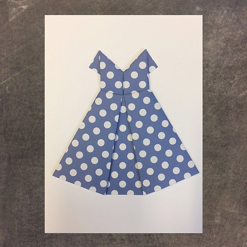 Origami greeting card, blue dress