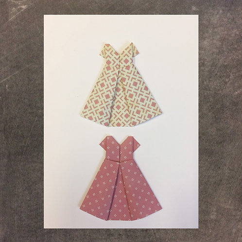 Origami greeting card, mini dresses