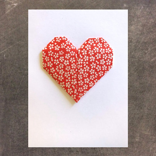 Origami greeting card, Red Heart