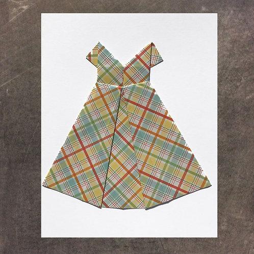 Origami greeting card, Plaid Dress