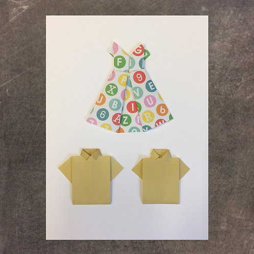 Origami greeting card, dress and shirts