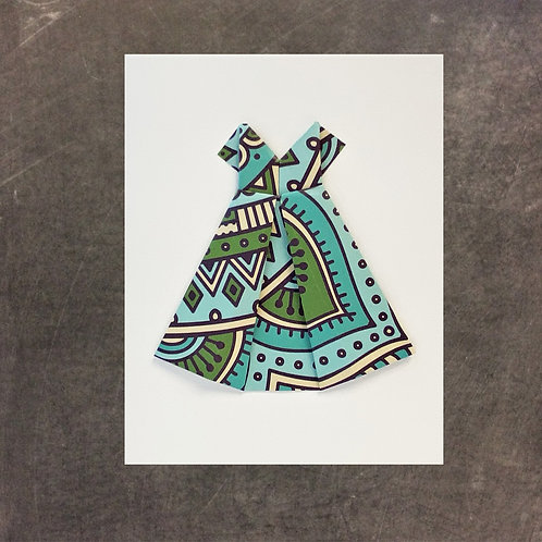 origami greeting card, green and blue dress
