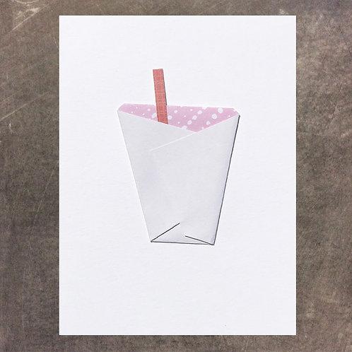 Origami greeting card, Milkshake