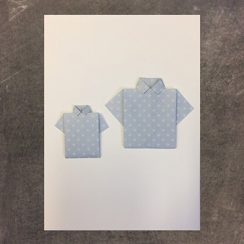 Origami greeting card, small and large shirt