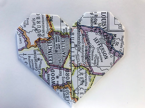 Origami greeting card, Lexington and Louisville Heart