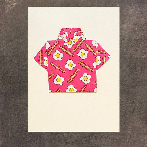 Origami greeting card, single shirt, eggs and bacon!