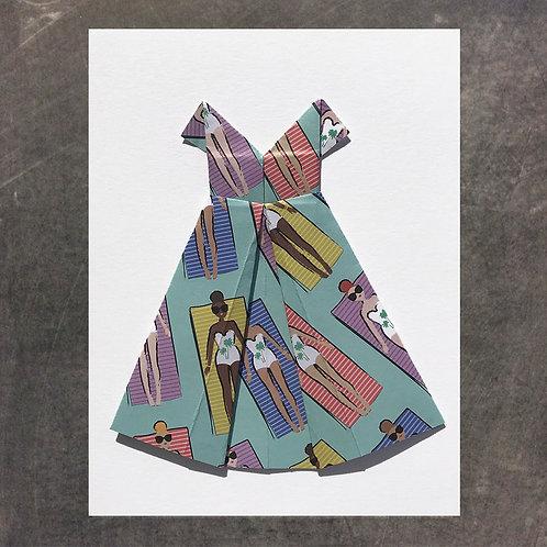 Origami greeting card, Sunbathers Dress