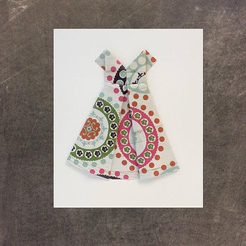 origami greeting card, multi dress