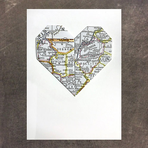 Origami greeting card, Louisville/Jefferson County Heart