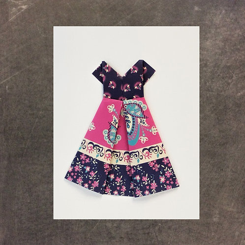 origami greeting card, blue and pink dress