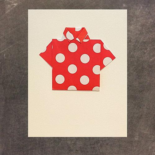 Origami greeting card, single shirt
