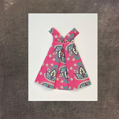 origami greeting card, pink dress