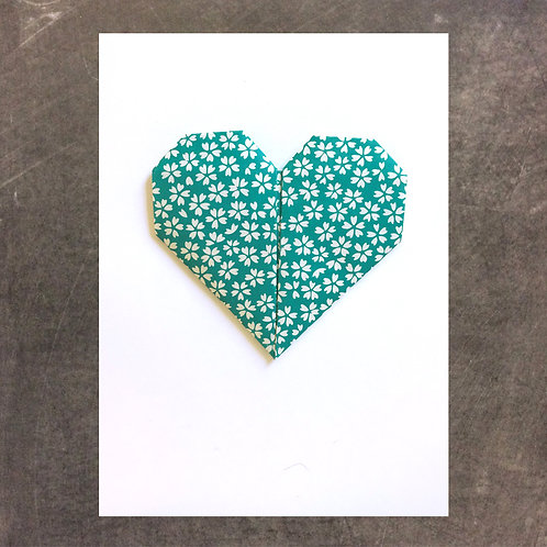 Origami greeting card, Blue Heart