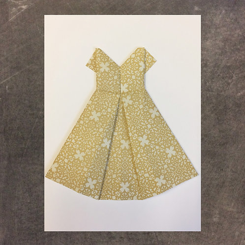 Origami greeting card,Gold Dress