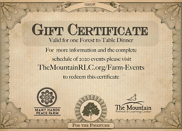 Forest to Table Dinner Gift Certificate