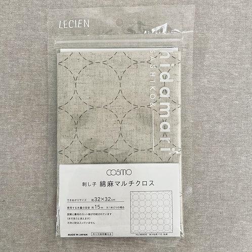 Sashiko Cotton & Linen Panel - Natural Circle