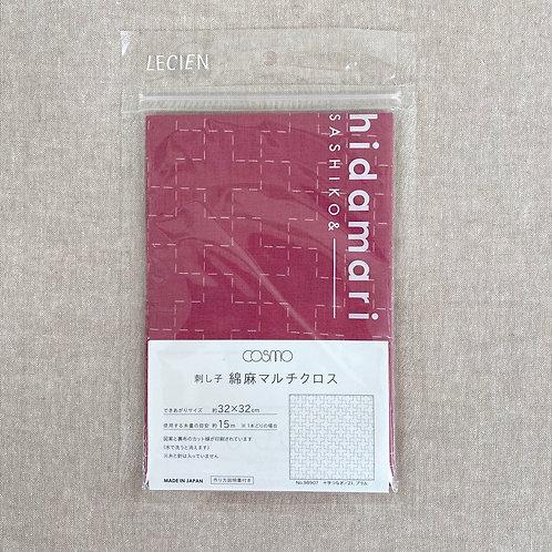 Sashiko Cotton & Linen Panel - Cross Plum 98907-21