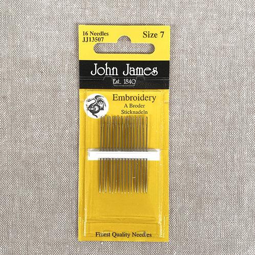 Embroidery Needles - John James Size 7