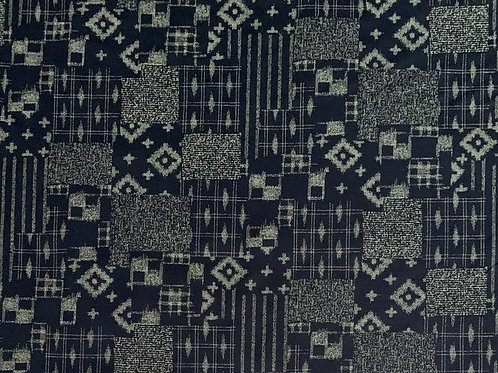 Indigo Patchwork Ikat Print - Cosmo (sold by the 1/2 yd)