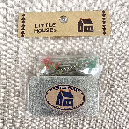 Little House Glass Pins with Pin Tin