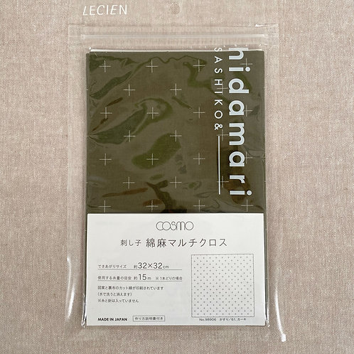 Sashiko Cotton & Linen Panel - Khasuri Khaki 98906-61
