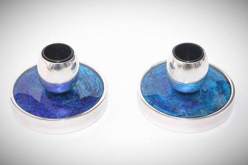 Nuji Blue Flat Candlesticks