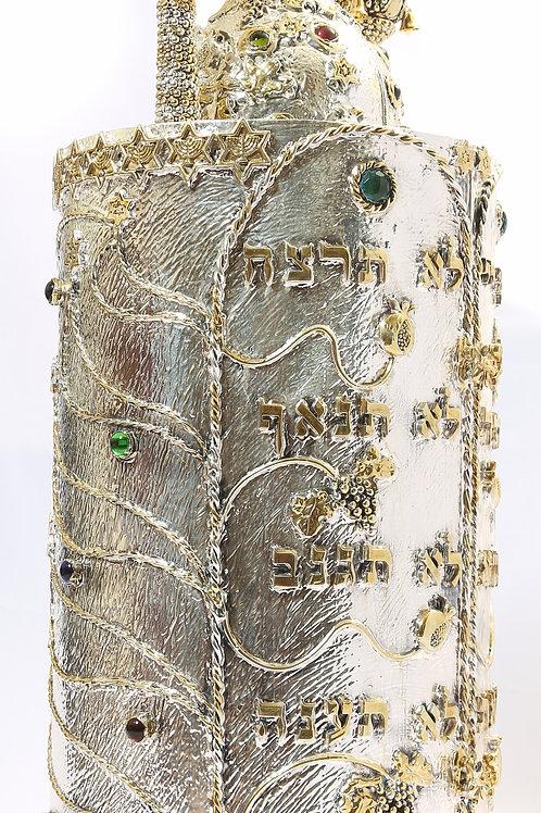 Torah Case-Ten Commandents Grapes & Rimonim