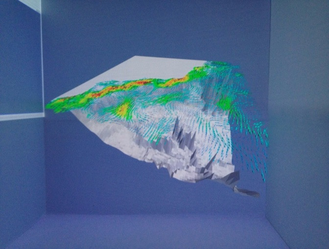 Visualization of currents on 3D cave