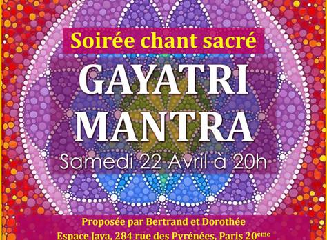 Soirée de chants sacrés autour du GAYATRI MANTRA: le 22 avril à 20h à Jaya Paris.
