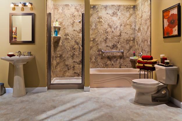 Sandbar Wave Tub Madiera Granite Smooth Walls Brushed Nickel Shower Door and Fixtures