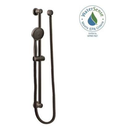 1-Spray Eco-Performance Handheld Hand Shower with Slidebar in Oil Rubbed Bronze