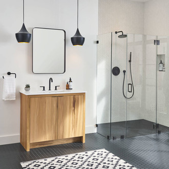 Vanity with Sink Fixtures. Shower with Wall Mount Shower Head and Handhled Sprayer.