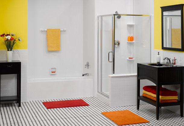 Straight White Bath & Shower with White Smooth Walls and Polished Chrome