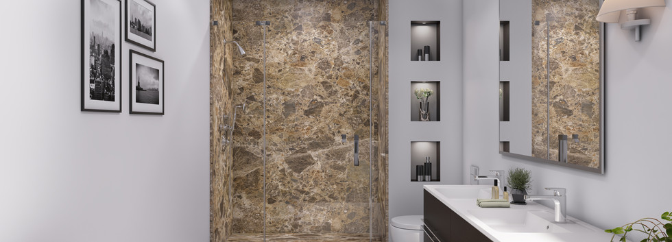Breccia Paradiso Three-Panel Shower