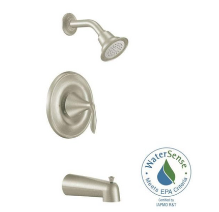 Eva 1-Handle Posi-Temp Tub and Shower Faucet Trim Kit with Eco-Performance in Brushed Nickel