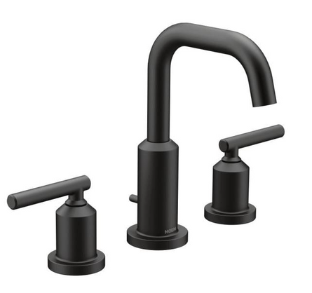 Gibson 8 in. Widespread 2-Handle High-Arc Bathroom Faucet Trim Kit in Matte Black