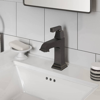 Town Square S Single Hole Single-Handle Monoblock Bathroom Faucet with Drain Assembly and WaterSense 1.2 GPM
