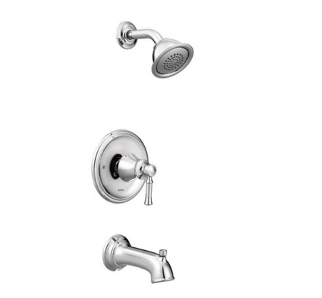 Dartmoor Posi-Temp Single-Handle Wall-Mount Tub and Shower Faucet Trim Kit in Chrome