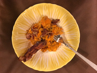 Mashed Sweet Potatoes with ginger, coconut milk, and bacon