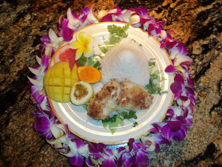 Kona Style Macadamia Crusted MahiMahi with Passion Fruit Butter Sauce and Coconut Rice